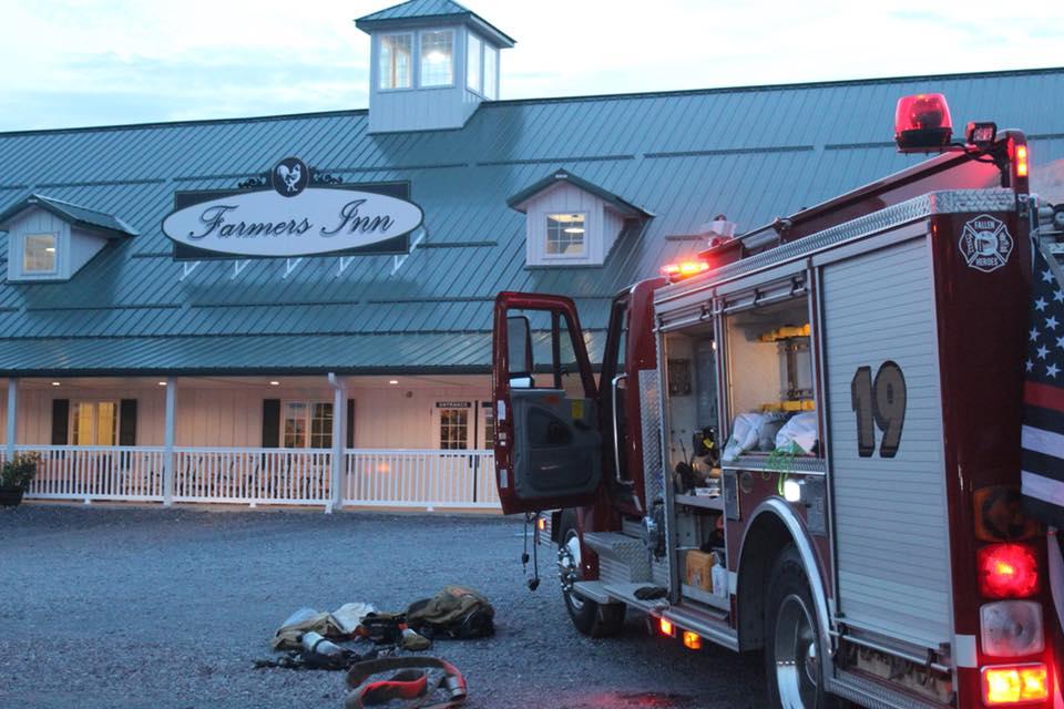 Farmers Inn Dryer Fire Outside