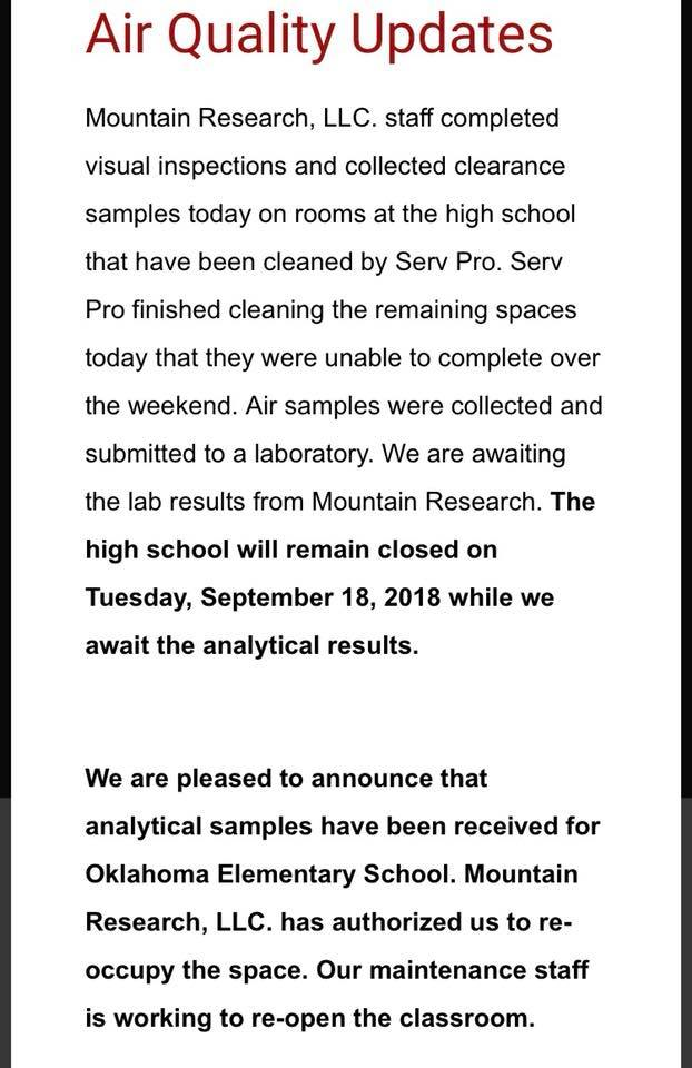 DuBois High School Air Quality Update Sept 17