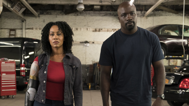 """Simone Missick with Mike Colter in """"Marvel's Luke Cage""""; David Lee/Netflix"""