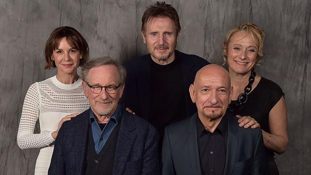 "L-R: Embeth Davidtz, Steven Spielberg, Liam Neeson, Sir Ben Kingsley and Caroline Goodall attend the ""Schindler's List"" 25th anniversary cast reunion at the 2018 Tribeca Film Festival; Theo Wargo/Getty Images for Tribeca Film Festival"