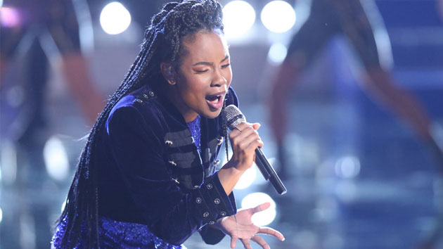 """Kennedy Holmes performs on """"The Voice""""; Tyler Golden/NBC"""