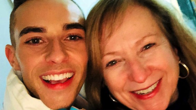 Adam Rippon and mom, Kelly, smile proudly as he displays his bronze medal from the 2018 Winter Olympics. (Courtesy Adam Rippon)