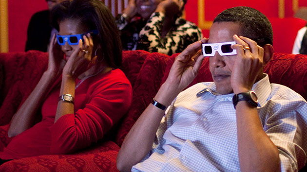 Barack and Michelle Obama at the White House theater in 2009; Pete Souza/White House via Getty Images