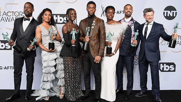 "The cast of ""Black Panther""; Gregg DeGuire/Getty Images for Turner"