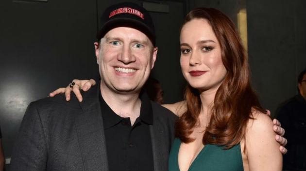 """(L-R) Marvel President Kevin Feige, """"Captain Marvel"""" star Brie Larson: Marvel - 2017"""