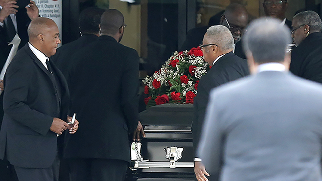 Photo by Stewart F. House/Getty Images  The casket carrying Botham Shem Jean arrives at Greenville Avenue Church of Christ on September 13, 2018 in Richardson, Texas.