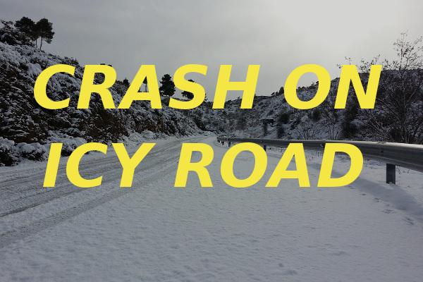crash on icy road