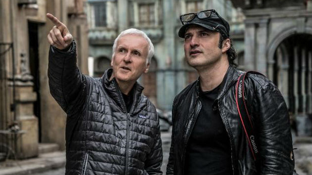 (l-r) Producer James Cameron and Director Robert Rodriguez on the set of ALITA: BATTLE ANGEL/Rico Torres