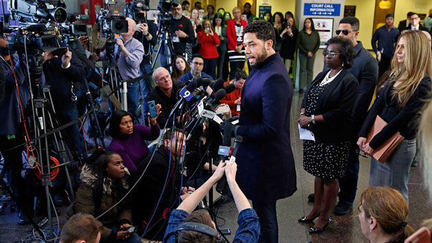 Jussie Smollett addresses the press March 26 after Cook County, IL prosecutors dropped charges against him; Nuccio DiNuzzo/Getty Images
