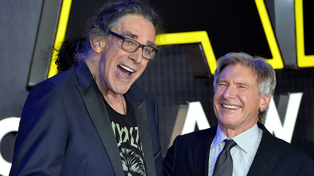 "Peter Mayhew with Harrison Ford at the 2015 London premiere of ""Star Wars: The Force Awakens""; Anthony Harvey/Getty Images"