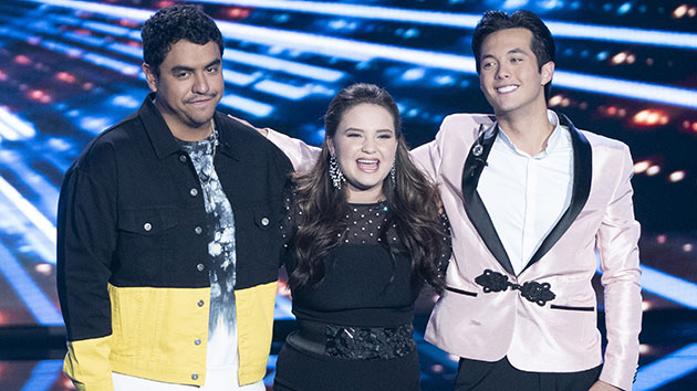 L-R: Finalists Alejandro Aranda, Madison VanDenburg and Laine Hardy; ABC/Eric McCandless