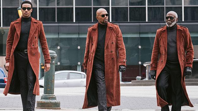 L-R: Jessie T. Usher, Samuel L. Jackson and Richard Roundtree; Kyle Kaplan, Warner Bros. Pictures