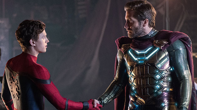 L-R: Tom Holland and Jake Gyllenhaal; Jay Maidment/Sony Pictures Entertainment