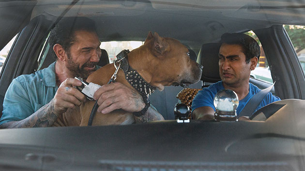 "L-R: Dave Bautista and Kumail Nanjiani in ""Stuber""; Twentieth Century Fox Film Corporation"