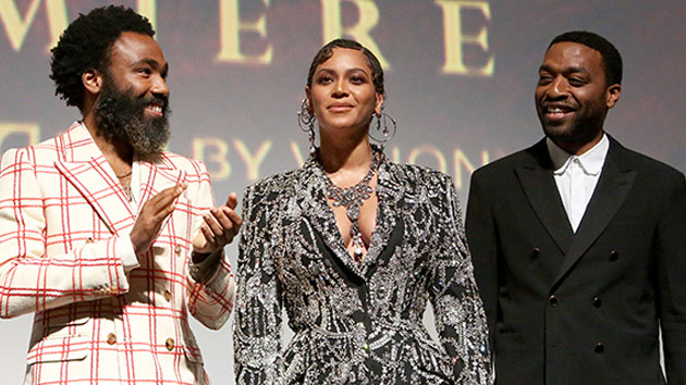 L-R: Donald Glover, Beyoncé Knowles-Carter and Chiwetel Ejiofor; Jesse Grant/Getty Images for Disney