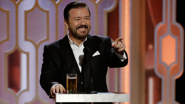 Ricky Gervais hosts the 73rd Annual Golden Globe Awards in 2016; Paul Drinkwater/NBC