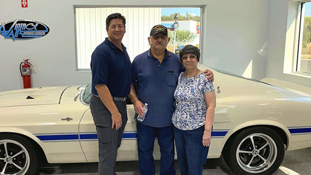 (Rudy Quinones/Renown Auto Restoration) Rudy Quinones, owner of Renown Auto Restoration in San Antonio, is seen in a recent photo with Albert Brigas and his wife wife of 44 years, Sylvia Brigas.