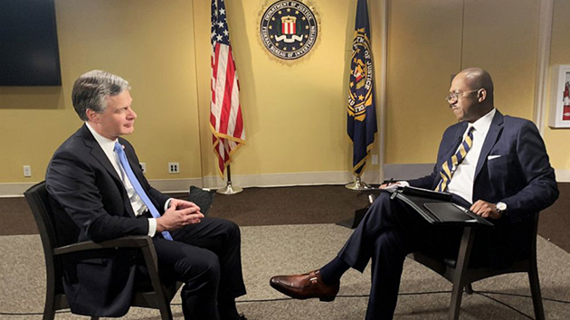 (Luke Barr/ABC News) FBI Director Christopher Wray speaks with ABC News' Chief Justice Correspondent Pierre Thomas in an exclusive interview on Dec. 9, 2019.