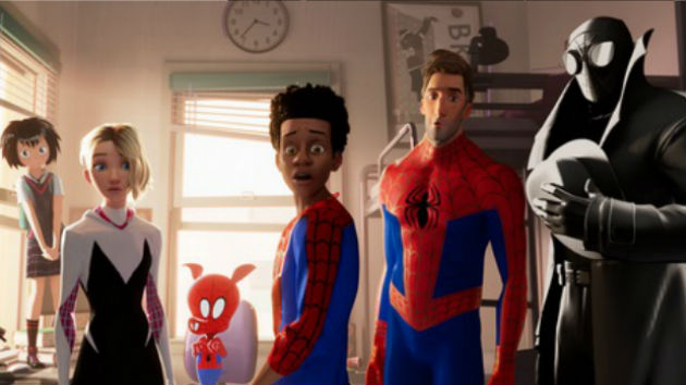 "Miles Morales (center) in ""Into The Spider-Verse""/Sony Pictures Animation. © 2018 CTMG, Inc."