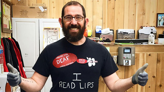 Matthew Simmons' co-worker made a shirt identifying him as hearing impaired after Simmons revealed he was struggling to communicate with customers at work. Courtesy Matthew Simmons