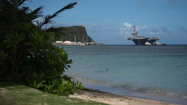 The aircraft carrier USS Theodore Roosevelt (CVN 71) transits Apra Harbor as the ship prepares to moor in Guam. Theodore Roosevelt Is in Guam for a port visit during their scheduled deployment to the Indo-Pacific. - (U.S. Navy)