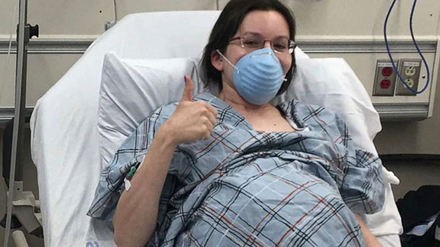 Julia Kite-Laidlaw had to wear a face mask when she gave birth to her twins Daphne and Francis in New York City on May 12, 2020. Courtesy Julia Kite-Laidlaw