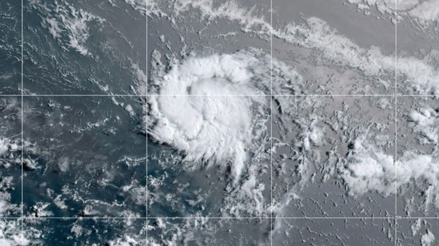 This satellite image shows Tropical Storm Gonzalo, July 22, 2020. - (NOAA)