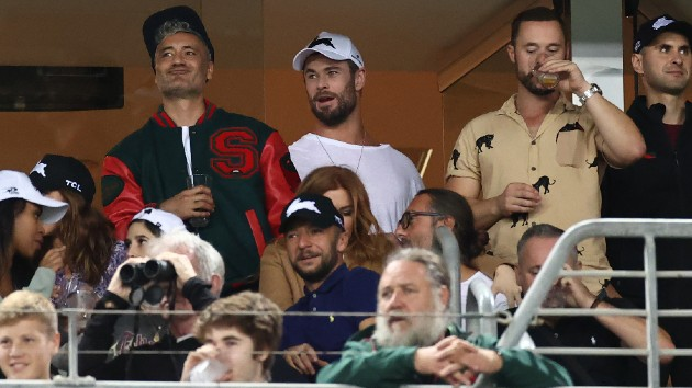 Waititi, Hemsworth, upper left; Crowe bottom - Cameron Spencer/Getty Images