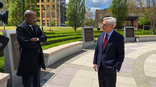 ABC News Chief Justice Correspondent Pierre Thomas speaks with Attorney General Merrick Garland in Tulsa, OK. - (Luke Barr/ABC News)