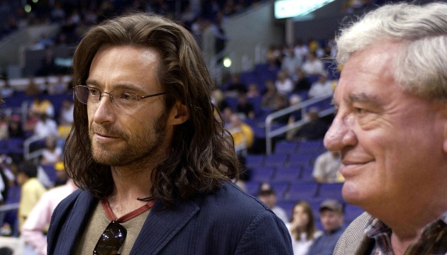 Hugh and his father in 2003 -- Vince Bucci/Getty Images
